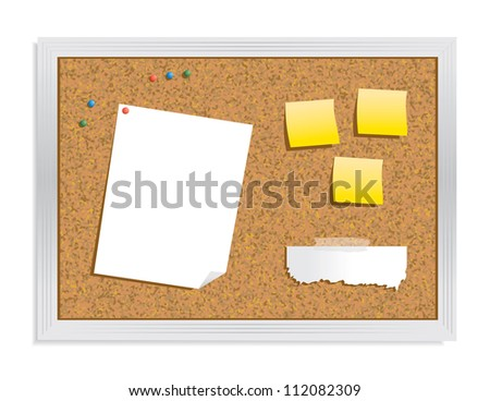 Cork Bulletin Board - stock vector