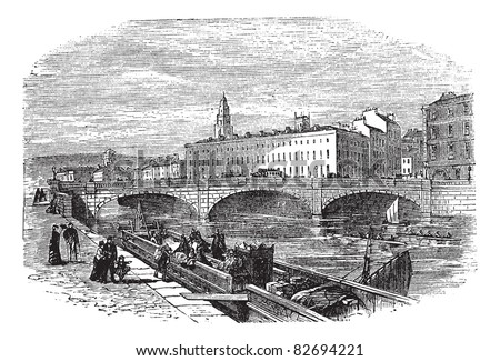 Cork in Munster, Ireland, during the 1890s, vintage engraving. Old engraved illustration of Cork showing Saint Patrick's Bridge and Cork City Hall. Trousset encyclopedia (1886 - 1891). - stock vector