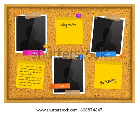 Cork Notice Board Photo Frames Sticky Stock Vector HD (Royalty Free ...