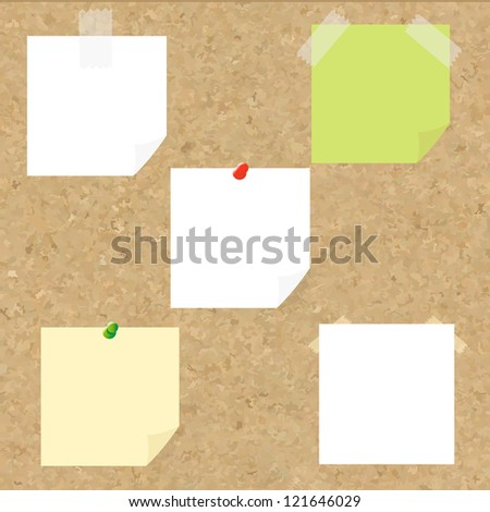 Cork Texture With Blank Note Tag With Gradient Mesh, Vector Illustration - stock vector