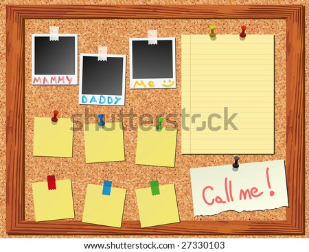 corkboard with stickers and instant photo - stock vector