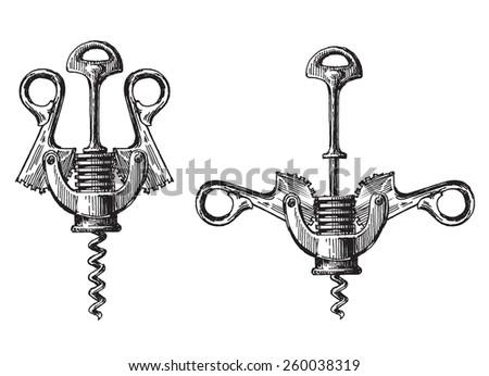 corkscrew metal vector logo design template. winemaking or wine icon. - stock vector