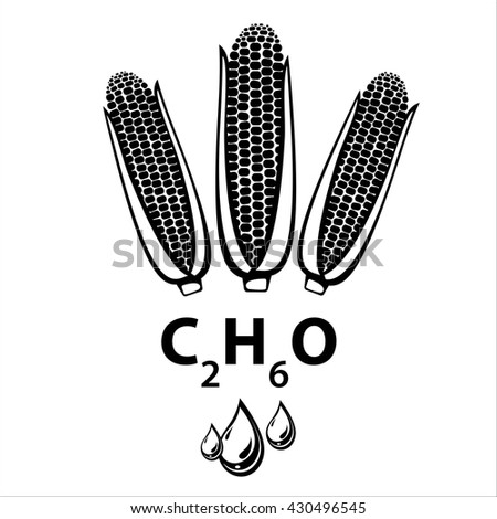 Corn ethanol biofuel, alternative and renewable energy supply source. Icon of corn cobs, ethanol formula and liquid drops. Vector Illustration - stock vector