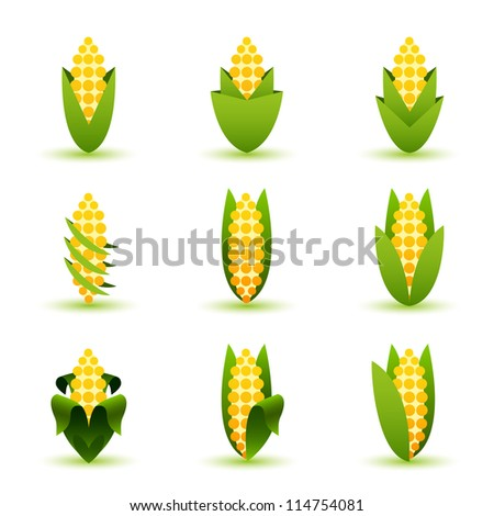 Corn sign or element set - stock vector