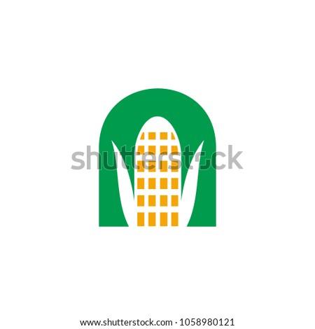 Corn Vector Logo Letter N Corn Stock Vector 1058980121 Shutterstock