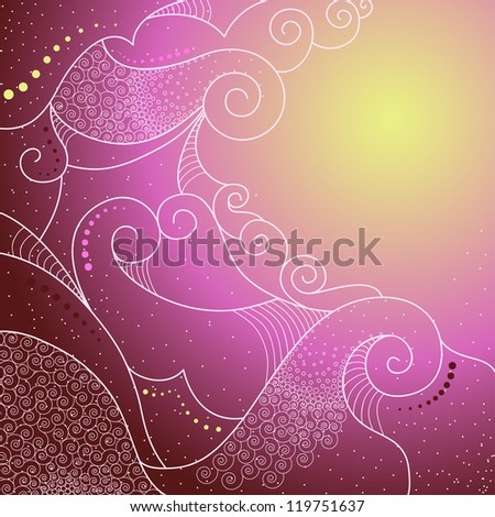Corner abstract background with spirals, swirls and circles. Purple, pink and yellow gradient.