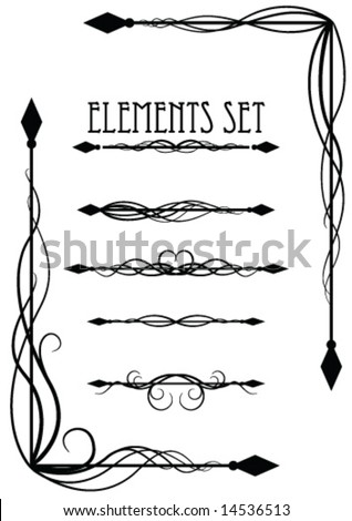 corner and divider elements set - stock vector