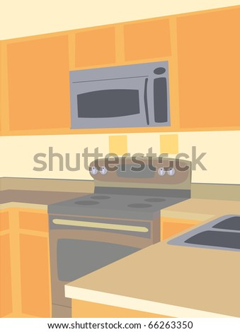 Corner angled view of empty kitchen microwave and stove counter tops - stock vector
