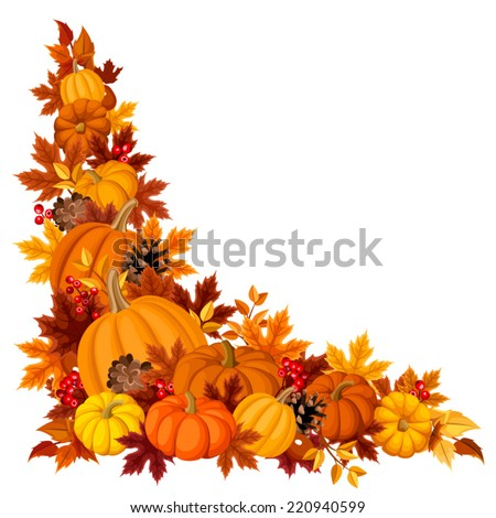 Corner background with pumpkins and autumn leaves. Vector illustration. - stock vector