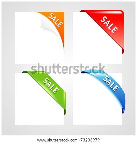 Corner collection. Set of business ribbons on gray background. - stock vector