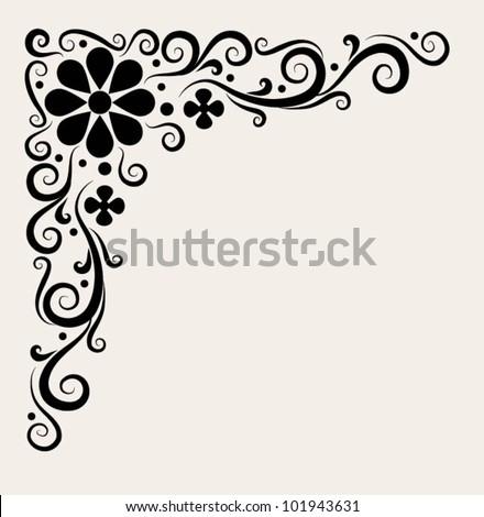 Corner decorative ornament #1. beautiful flower and leaf ornament decoration - stock vector