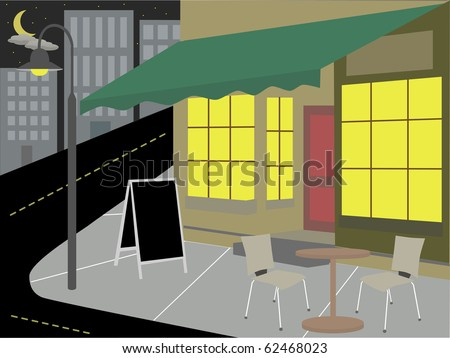 Corner Diner bottom of street nighttime with lights on  vector illustration - stock vector