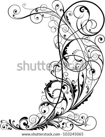 Corner floral.Swirl floral design ornaments, black colored. - stock vector
