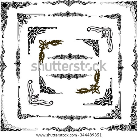Corner gold.Page decoration. Decorative frame floral elements, Set of corners and borders frame. thai style corner linear decorative elements.Set of Gold Hand Drawn Corner Rustic Doodle Design - stock vector