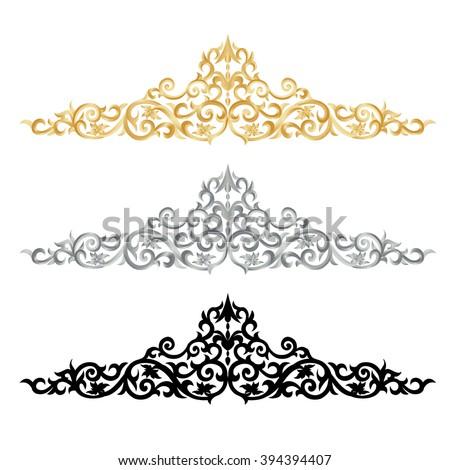 Corner Gold Vintage Baroque Frame Scroll Ornament Engraving Border Floral Retro Pattern Antique Style Acanthus