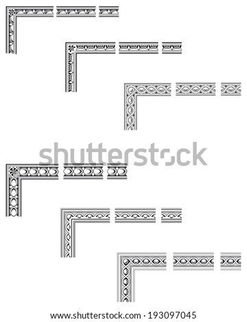 Corners and modular borders to create frames at any size - stock vector