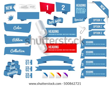 Corners And Ribbons, Isolated On White Background, Vector Illustration. Banner Collection