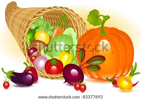 Cornucopia with pumpkin. Collection of vegetables on white background - stock vector