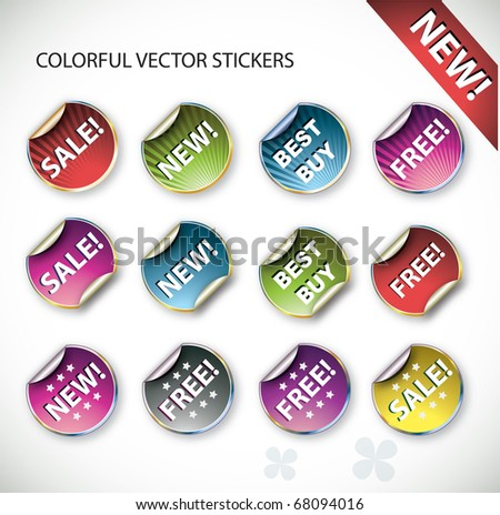Cororful vector stickers - stock vector