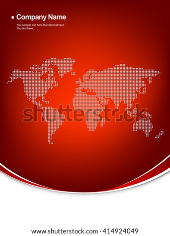 Corporate background template,  earth map on  red background. - stock vector