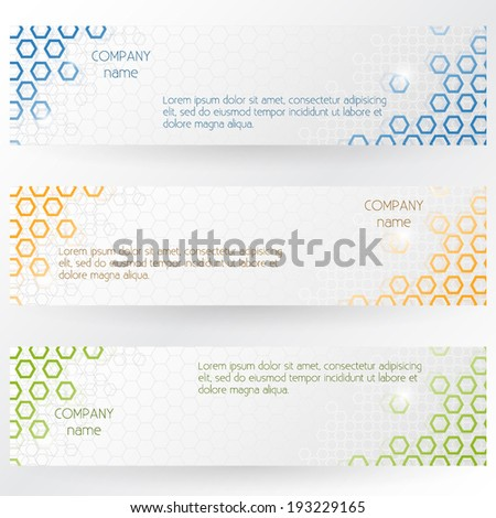 Corporate Banners With Hexagonal Abstract Design - Vector EPS10  - stock vector