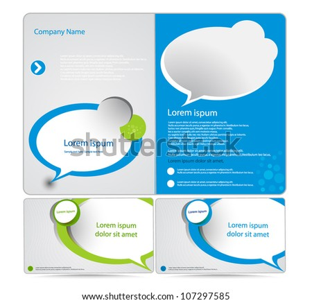 corporate blue and green  business brochure  design - stock vector