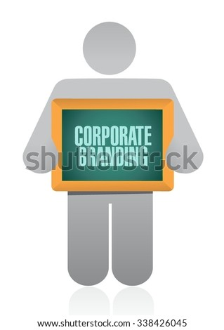 Corporate Branding holding board sign concept illustration design graphic