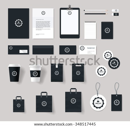 corporate branding identity mock up template for coffee shop and restaurant. card .menu.vector.stationary.packaging, corporate identity - stock vector