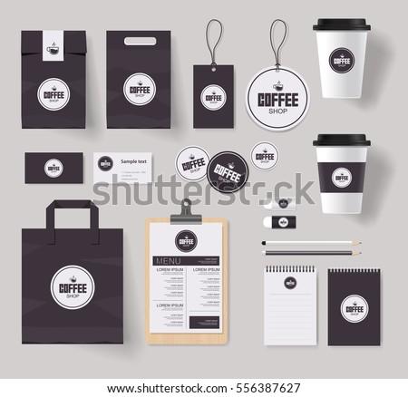 Corporate Branding Identity Mock Template Coffee Stock-Vektorgrafik ...