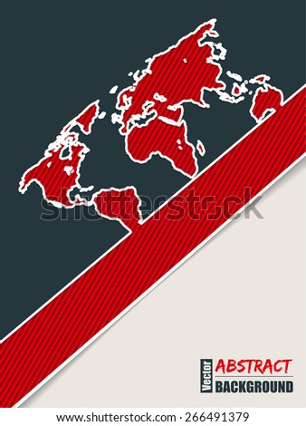 Corporate brochure background design in slate blue and red with world map  - stock vector