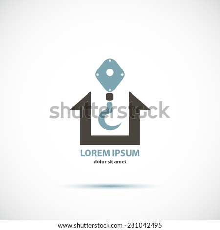 Corporate building company emblem or logo with crane hook and house icons concept design - stock vector