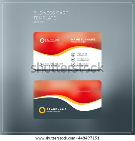 Doublesided Red Business Card Template Vector Stock Vector ...