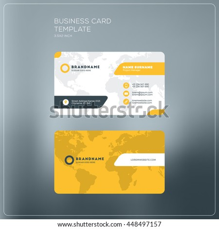 Corporate business card print template personal stock photo photo corporate business card print template personal visiting card with company logo black and yellow reheart Images