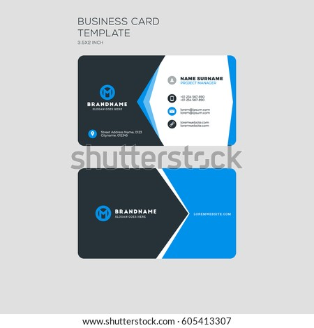 Corporate business card print template personal stock vector corporate business card print template personal visiting card with company logo clean flat stationery cheaphphosting Image collections