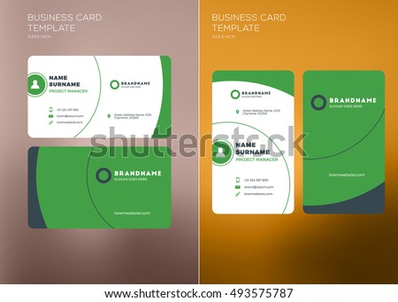Corporate business card print template personal stock vector corporate business card print template personal visiting card with company logo vertical and horizontal reheart Gallery