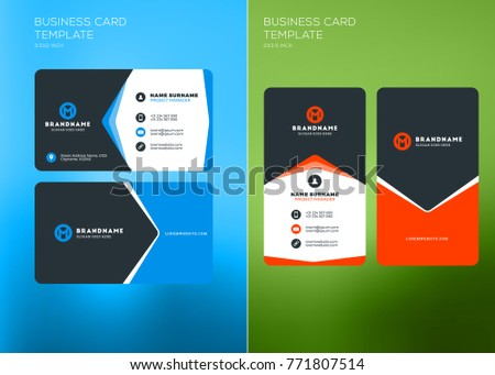 Corporate business card print template vertical stock vector corporate business card print template vertical and horizontal business card templates vector illustration colourmoves