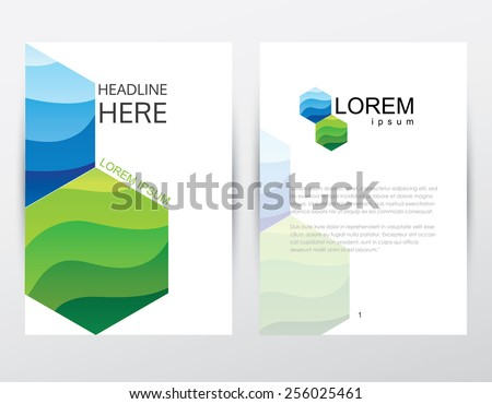corporate business company brochure cover and letterhead design template mockup with two connected hexagon polygons in green and blue shades - stock vector