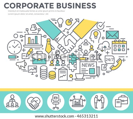 Corporate business concept illustration, thin line, flat design