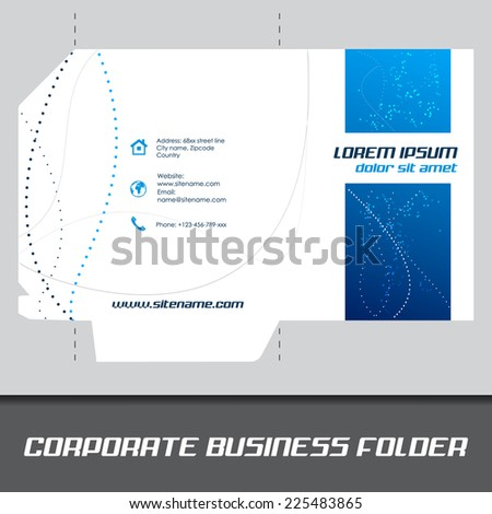 Corporate business folder, stationery template design or document folder/design with place for your content, can be used for print, publishing or working presentation - stock vector