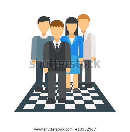 Corporate business market strategy flat style design vector illustration infographics concept people on chessboard. Businessmen people are figures on chessboard playing. People on chessboard - stock vector