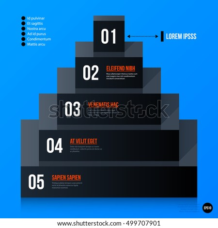 Corporate business pyramid chart template on bright blue background. Useful for presentations and advertising.
