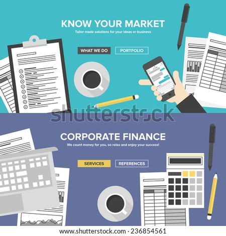 Corporate business services, financial analytics and market research, office organization process, company accounting and planning documents. Flat design banner set modern vector illustration concept. - stock vector