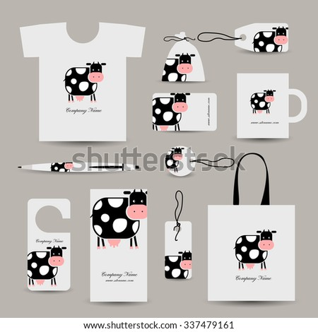 Corporate business style design, funny cow. Vector illustration - stock vector