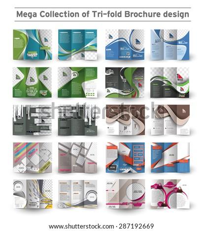 Corporate Business Tri-fold Brochure Design Bundle. - stock vector