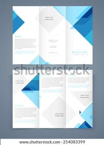 Corporate business trifold, flyer, template or brochure with blue abstract design in front and back page presentation. - stock vector