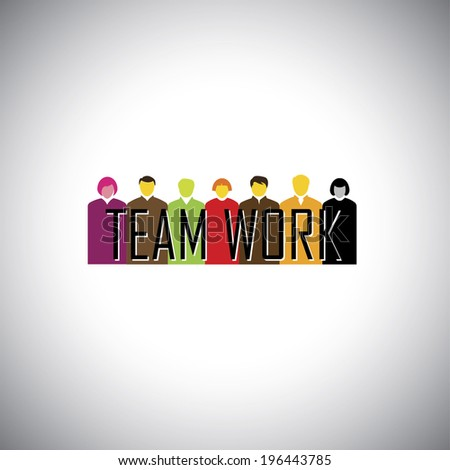 corporate executives or employees together - teamwork concept vector. This graphic illustration can also represent team, synergy, harmony, togetherness, diversity, unity, symbiosis, etc - stock vector