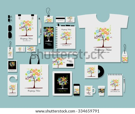 Corporate flat identity mock-up template for your design. Vector illustration - stock vector