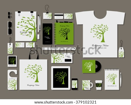 Corporate flat mock-up template, green tree design - stock vector