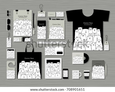 Corporate flat mock-up template, polar bears family