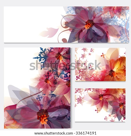 Corporate floral identity templates with flowers and snowflakes for design - stock vector